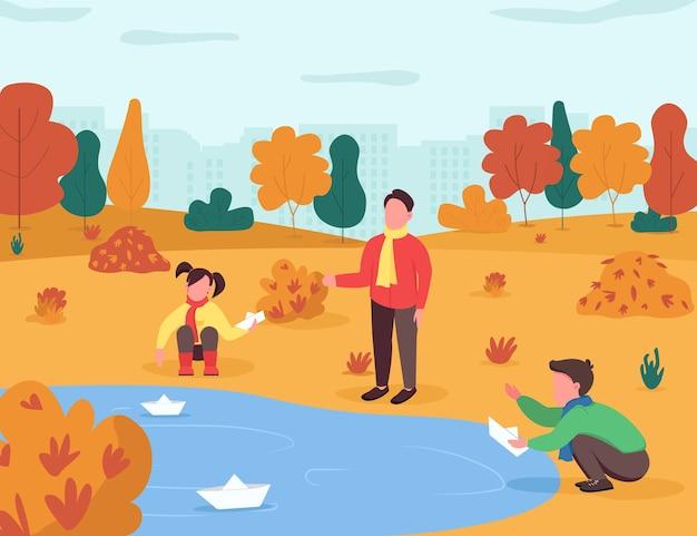 子供のための秋のエンターテイメントセミフラットイラスト