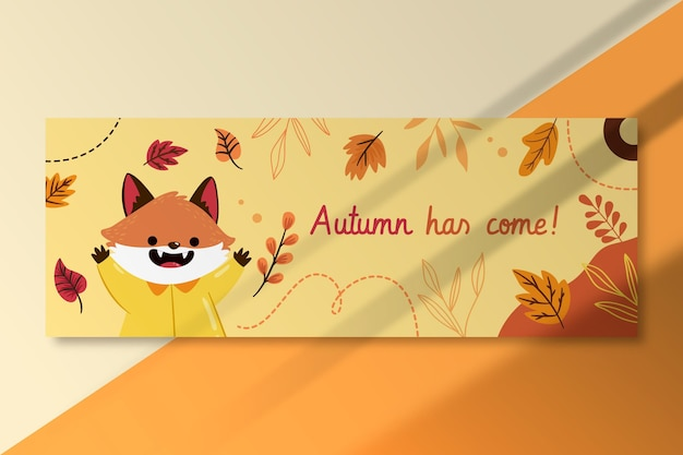 Autumn facebook cover template with fox