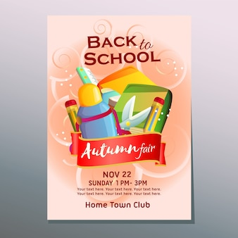 Autumn fair back to school poster with stationary