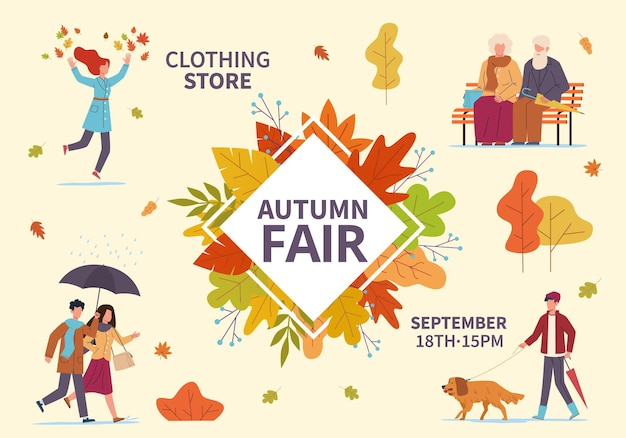 秋のフェア。秋の公開展示会、ホリデーウェアの販売、フリーマーケット、黄色いオレンジの葉の中に傘を持っている人。季節割引プロモーション広告ベクトルフラットバナー