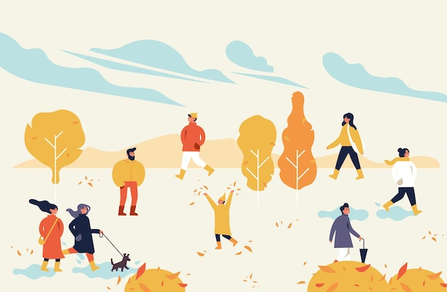 秋の公正なポスター、チラシ、バナー、またはバナーテンプレート。屋外公園での時間を楽しむ人と。秋のホリデーシーズンのレクリエーションと公開イベント。
