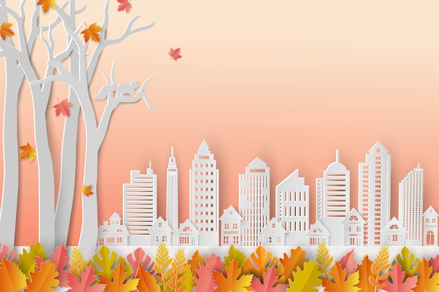Autumn or fall background with colorful leaves and white city on paper art style