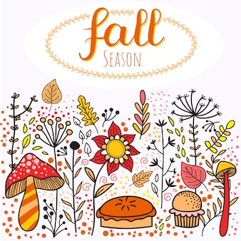 Autumn fall background with doodle elements
