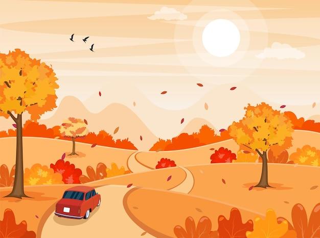 가을 가을 만화 풍경