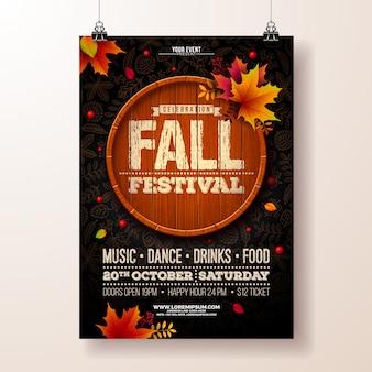 Autumn fall festival party flyer illustration