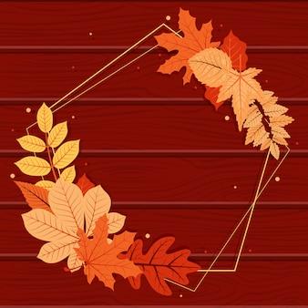 가을 가을 잎 인사말 초대장 국방부 프레임 나무 배경 꽃다발