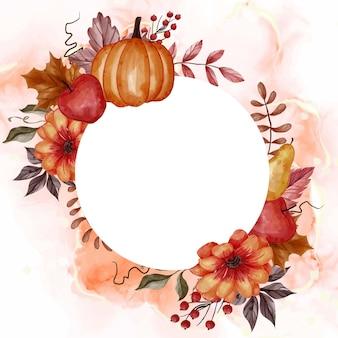 背景の花のフレームの秋の秋の葉、カボチャ、梨、リンゴ