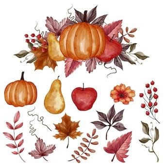 秋の秋の葉、カボチャ、梨、リンゴの孤立したクリップアート