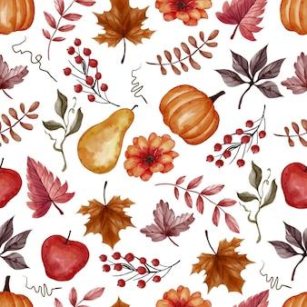 秋の秋の葉、カボチャ、梨、リンゴのシームレスなパターン