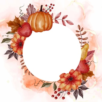 Foglia d'autunno, zucca, pera e mela per la cornice floreale di sfondo