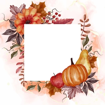 Autumn fall leaf, pumpkin, pear, and apple for background floral frame