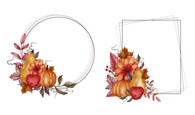 Autumn fall leaf, pumpkin, pear, and apple floral frame set