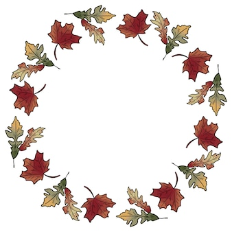 Autumn fall leaves wreath ornament