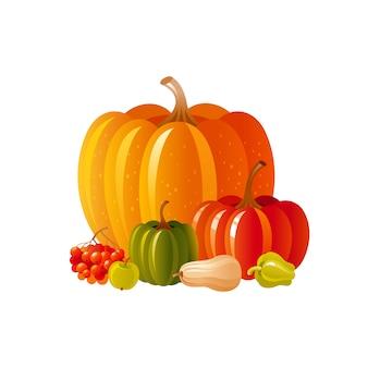 추수 축제 또는 추수 감사절에 대 한가 호박 아이콘. 야채와 함께 만화가 그림