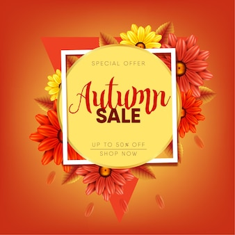 Autumn, fall sale banner, 3d flowers autumn
