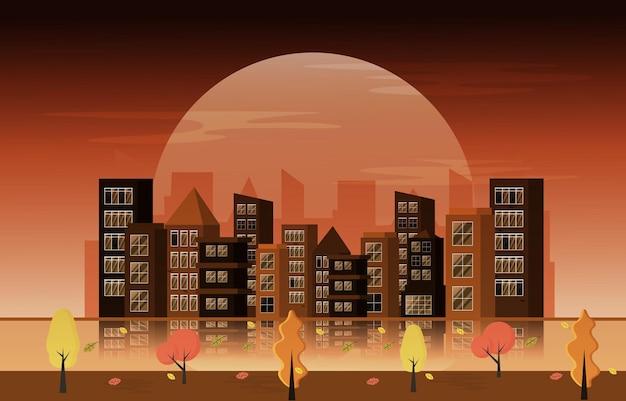 Осень осень сезон большая луна город здание городской пейзаж плоский дизайн иллюстрация