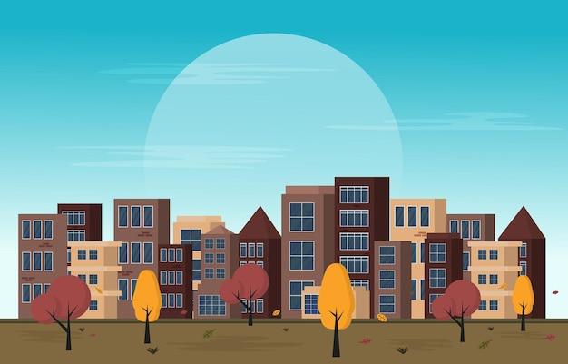 Осень осень сезон городской парк здание деревьями городской пейзаж плоский дизайн иллюстрация