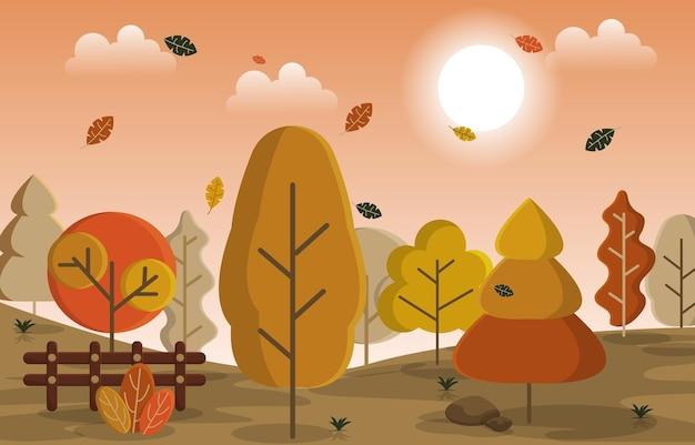 秋秋シーズン田舎の丘自然の風景イラスト