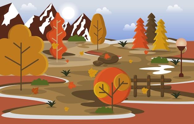 Autumn fall season countryside mountain nature landscape illustration