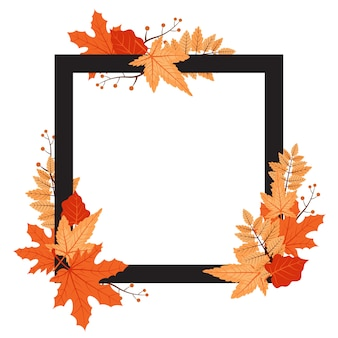 Осень осень сезон лист приветствие приглашение квадратная рамка фоне букет