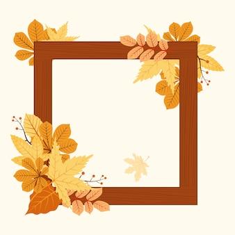 Осень сезон осень лист приветствие приглашение квадратная рамка деревянный фон