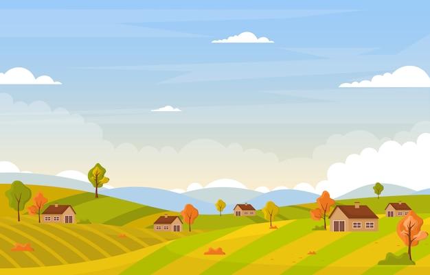 秋秋シーズンツリーゴールデンイエローヒルパノラマ風景