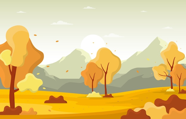秋秋シーズンツリーゴールデンイエローマウンテンパノラマ風景