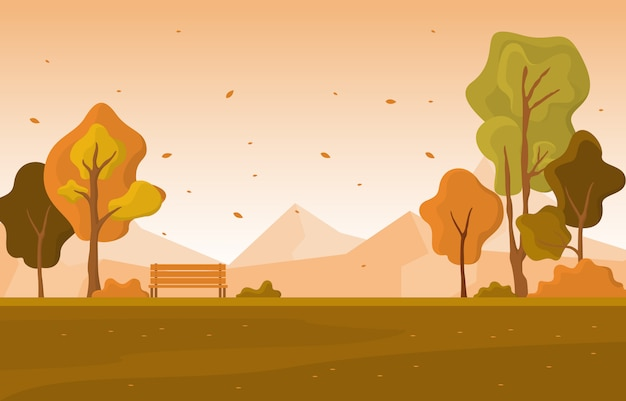 Autumn fall season tree golden yellow mountain panoramic landscape