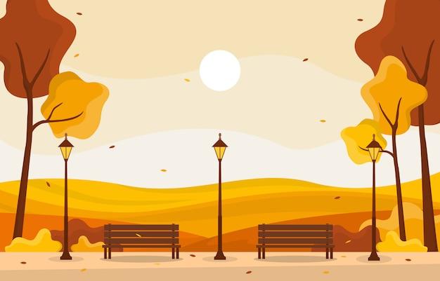 秋秋シーズンツリーゴールデンイエロー自然パノラマ風景