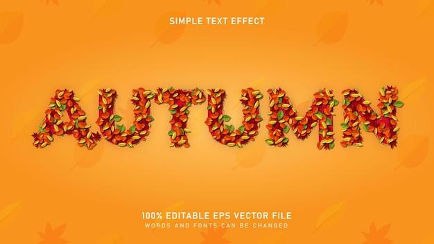 인쇄 매체 등에 사용되는 잎 텍스트 효과 편집 가능한 eps 벡터가 있는 가을 가을 시즌