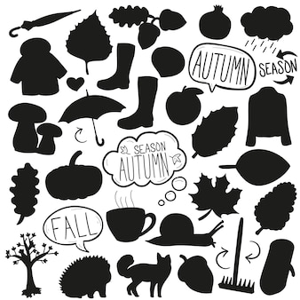 Autumn fall silhouette vector clip art