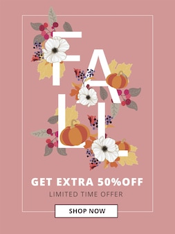 Autumn, fall and thanksgiving sale banner for mobile ad sizes.