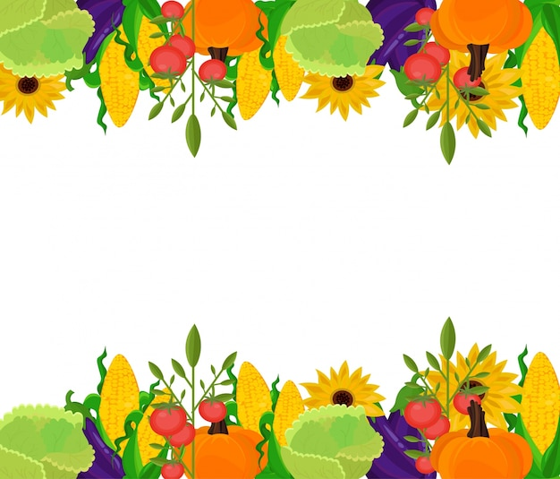 Autumn fall vegetables banner template vector background
