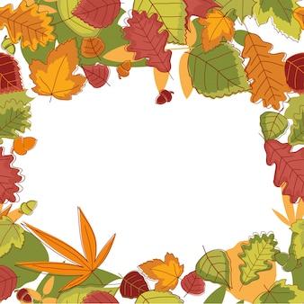 Autumn falling leaves frame for thanksgiving
