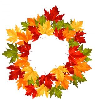 Осенние падающие листья в рамке для сезонных