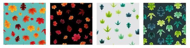 秋の落ち葉シームレスパターン背景コレクションセット。ベクトルイラスト