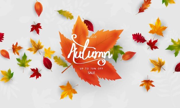 Autumn falling leaves for season banner