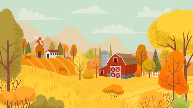 Autumn farming landscape. country farm, yellow trees and farmhouse field cartoon  background illustration