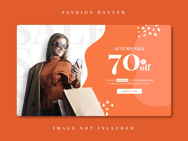 Autumn fashion sale marketing discount promo print banner template
