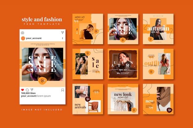 가을 패션 소셜 미디어 퍼즐 게시물 피드 템플릿 컬렉션