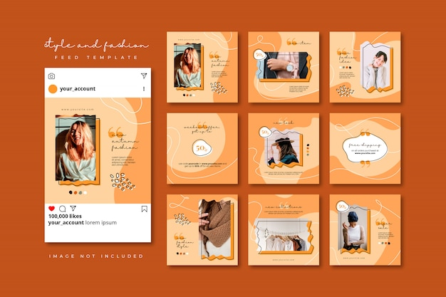 Autumn fashion social media puzzle post feed template collection