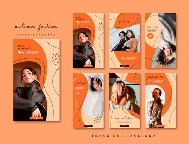 Autumn fashion social media story template collection