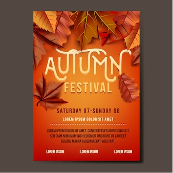 Autumn festival flyer or banner template design with leaves