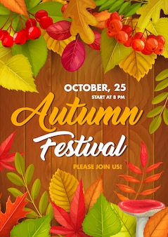 Autumn festival  flyer, fall holiday card