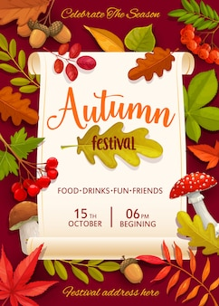 Autumn festival flyer with colorful tree leaves