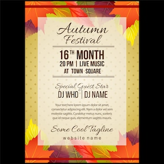 Autumn festival poster template with colorful leaves
