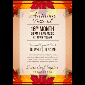 Autumn festival poster template with forest leaves element