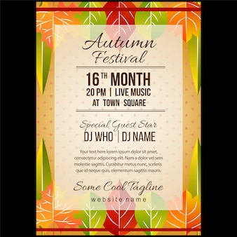 Autumn festival poster template with half leaves