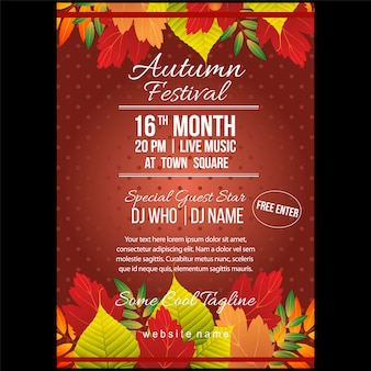 Autumn festival poster template with leaves elements