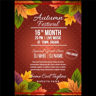 Autumn festival poster template with nature leaves